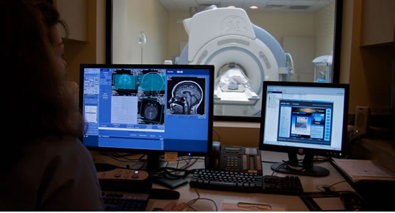 Image of MRI results on a computer screen